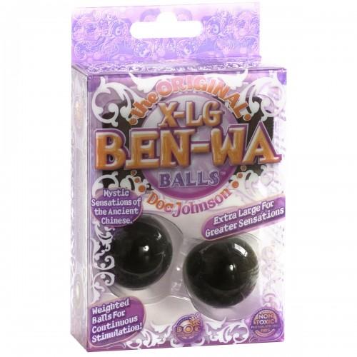 Тяжелые вагинальные шарики черного цвета X-LARGE BEN WA BALLS