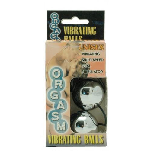 Серебристые вагинальные шарики с вибрацией ORGASM VIBRATING BALL