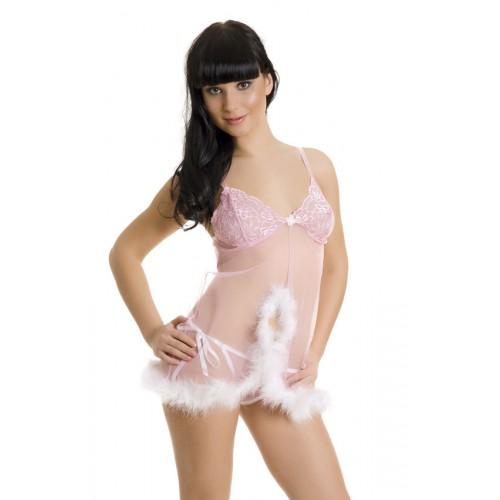Сорочка бэби-долл с кружевом и пёрышками марабу, S-M, розовый