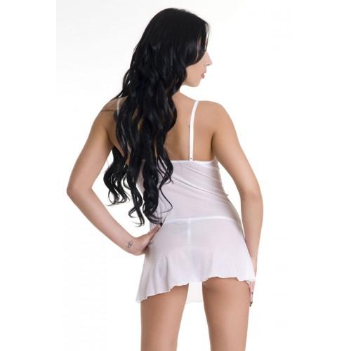 Романтическая сорочка и трусики-стринг для первой брачной ночи, M, белый с розовым