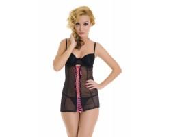 Мини-платье с атласной шнуровкой в комплекте с трусиками-стринг, M-L, черный с розовым