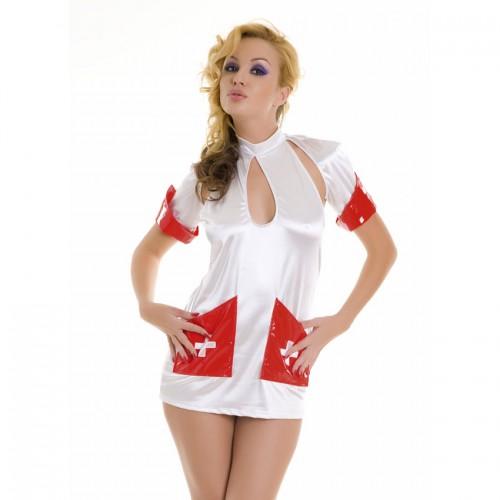 Сексапильная медсестра, M-L, белый с красным