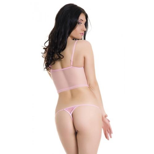 Кружевной топ и трусики-стринг, M, розовый