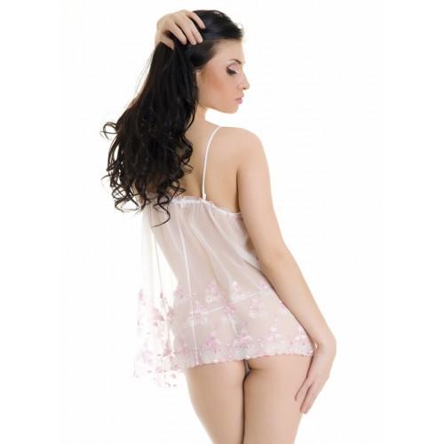 Сетевая сорочка и трусики-стринг , M-L, белый с розовым