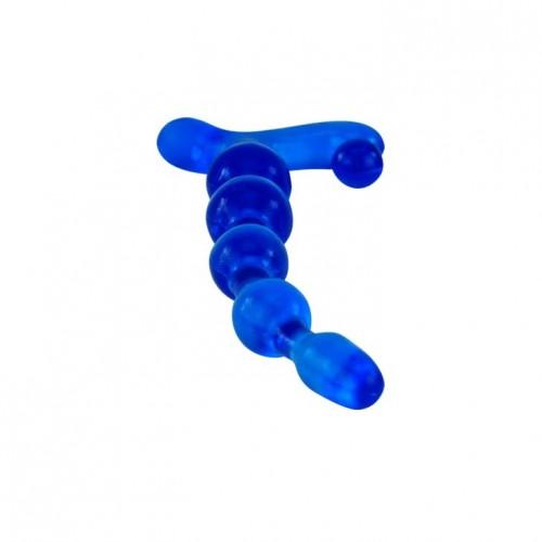 Синий анальный стимулятор из TPR - 22 см.