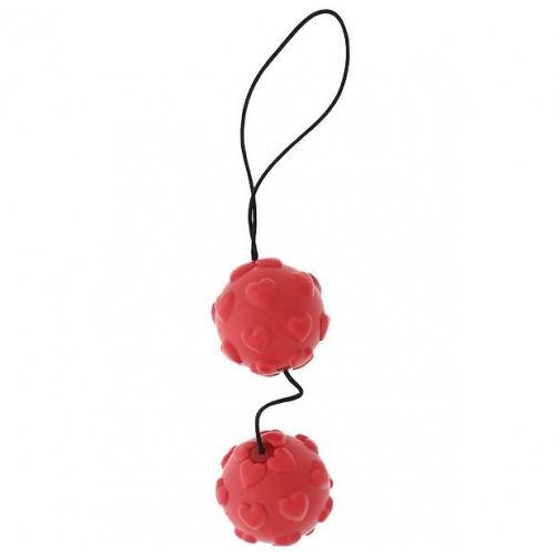 Красные вагинальные шарики с сердечками DUO BALLS