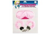 Комплект - розовая маска на глаза, наручники обшитые, 2 ключа.