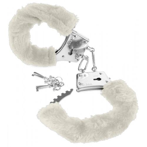 Меховые белые наручники FETISH Line