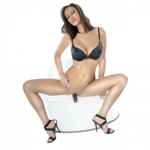 Безремневой страпон с вагинальной пробкой и вибратором - 18 см.
