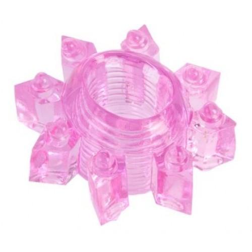 Розовое гелевое эрекционное кольцо-звезда