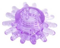 Фиолетовое гелевое эрекционное кольцо с шипиками