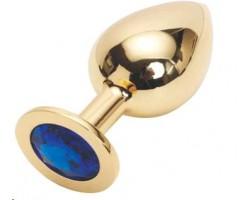 Золотистая анальная пробка GOLDEN PLUG Large с синим кристаллом - 9,5 см.