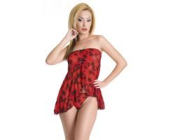 Красная сорочка и трусики-стринг с цветочным принтом, S-M-L, красный