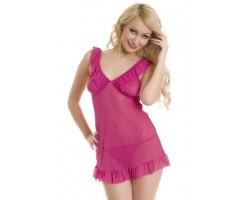 Розовая сорочка и трусики-стринг, S-M-L, розовый