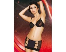 Комплект Jolie: бюстгальтер и юбка с разрезами, S, черный