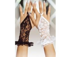 Короткие кружевные перчатки на пальчик, S-M-L, белый