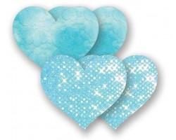Комплект из 1 пары голубых пэстис-сердечек с блестками и 1 пары голубых пэстис-сердечек с кружевной поверхностью, B, голубой