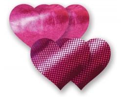 Комплект из 1 пары пурпурных пэстис-сердечек с блестками и 1 пары пурпурных пэстис-сердечек  с гладкой поверхностью, B, малиновый