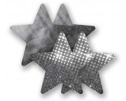 Комплект из 1 пары графитовых пэстис-звездочек с блестками и 1 пары графитовых пэстис-звёздочек с гладкой поверхностью, B, серебро