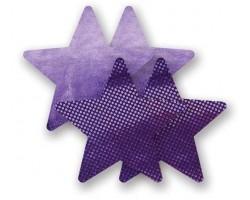 Комплект из 1 пары фиолетовых пар пэстис-звездочек с блестками и 1 пары сиреневых пэстис-звездочек с гладкой поверхностью, B, сиреневый