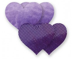 Комплект из 1 пары фиолетовых пэстис-сердечек с блестками и 1 пары сиреневых пэстис-сердечек с гладкой поверхностью, B, сиреневый