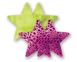 Комплект из 1 пары лаймовых пэстис-звездочек и 1 пары розовых пэстис-звездочек с леопардовым принтом, B