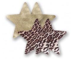 Комплект из 1 пары пэстис-звездочек с леопардовым принтом и 1 пары золотистых пэстис-звездочек, B