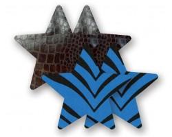 Комплект из 1 пары черных пэстис-звезочек под змеиную кожу и 1 пары синих пэстис-звёздочек в полоску, B
