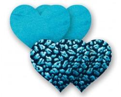 Комплект из 1 пары бирюзовых пэстис-сердечек и 1 пары черных пэстис-сердечек с леопардовым принтом, B, бирюзовый