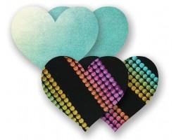 Комплект из 1 пары голубых пэстис-сердечек и 1 пары неоновых пэстис в полоску, C