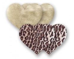 Комплект из 1 пары пэстис-сердечек с леопардовым принтом и 1 пары золотистых пэстис-сердечек, B