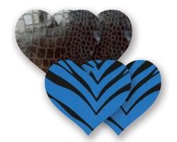 Комплект из 1 пары черных пэстис-сердечек под змеиную кожу и 1 пары синих пэстис-сердечек в полоску, B