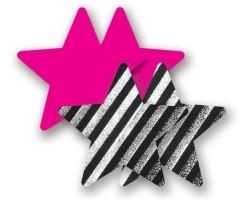 Комплект из 1 пары розовых пэстис-звездочек и 1 пары черно-белых пэстис-звездочек в полоску, B
