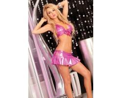 Розовый комплект: топ и юбка со шнуровкой