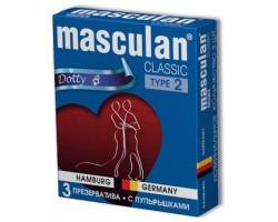 Розовые презервативы Masculan Classic Dotty с пупырышками - 3 шт.