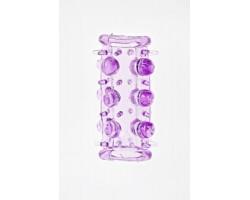 Фиолетовая насадка на фаллос с шипами и бусинами
