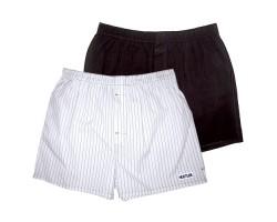 Комплект из 2 мужских трусов-шортов: чёрных и белых в полоску, L, черный с белым