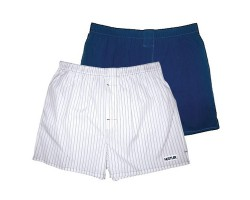 Комплект из 2 мужских трусов-шортов: синие и белые в голубую полоску, S, белый/синий васелек