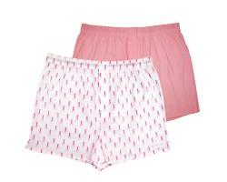 Комплект из 2 мужских трусов-шортов: розовые и белые с мелким рисунком, L, розовый