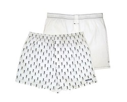 Комплект из 2 мужских трусов-шортов: белые и с мелким рисунком, L, белый