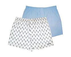 Комплект из 2 мужских трусов-шортов: голубые и белые с мелким рисунком, S, аква/белый