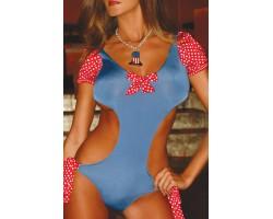 Красно-голубой купальник с открытой спиной Candy Dream, S-M-L, голубой