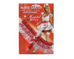 Подвязка медсестры со шприцом, S-M-L, белый с красным