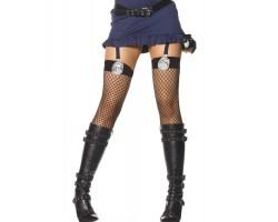 Чёрные чулки в сетку со значком Police, S-M-L, черный