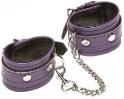 Фиолетовые кожаные наручники X-Play