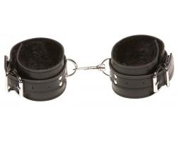 Чёрные кожаные оковы X-Play с чёрным мехом внутри