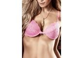 Бюстгальтер Dolce Vita розовый с кружевной аппликацией, мягкими чашечками и косточками, 38C, розовый