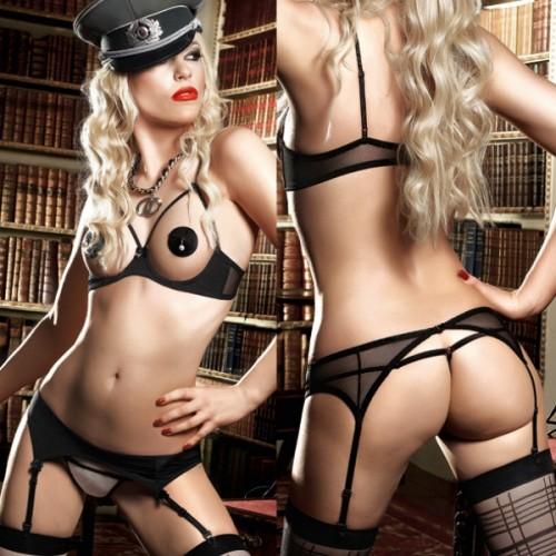 Комплект Agent Of Love бикини и открытый топ черно-бежевый с подвязкой для чулок, M-L, черный с бежевым