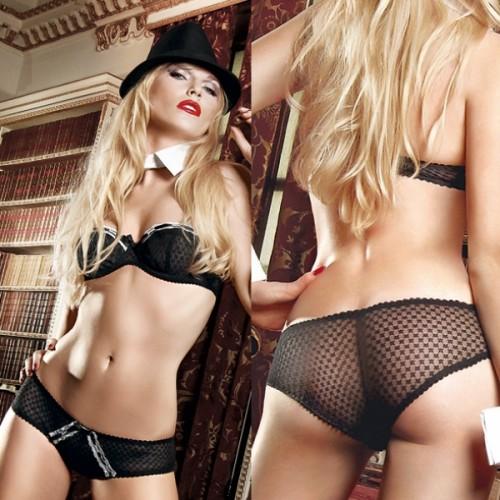 Черный комплект-бикини Agent Of Love с  трусиками, косточками, белыми кружевными деталями и бантиком, S-M, черный с белым