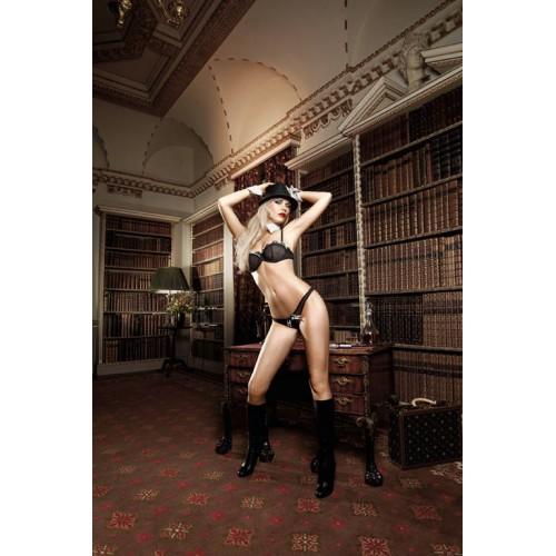 Черный комплект-бикини Agent Of Love со стрингами, косточками, белыми кружевными деталями и бантиком, M-L, черный с белым